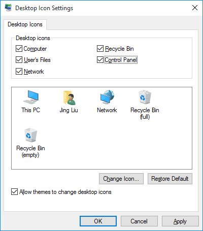 add desktop icons in windows 10