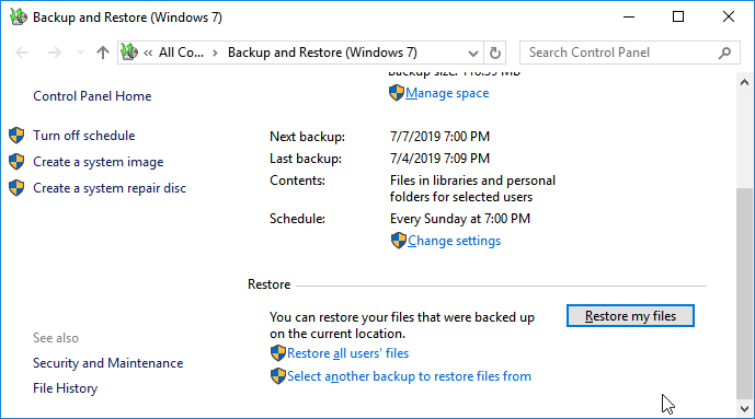 Restore files from Windows Backup.