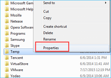 click temp folder and select the properties