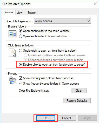 fix for double click won't open files in Windows 10 - 1