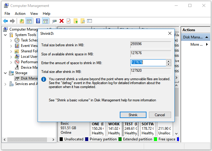 Shrink partition in Windows 10 using Disk Management