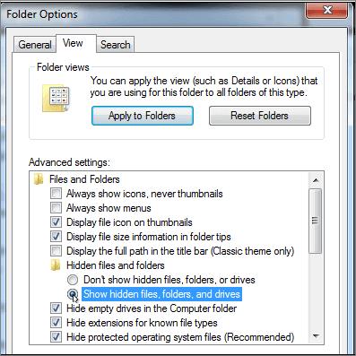 selecionar mostrar pastas e unidades de arquivos ocultos para corrigir a unidade de rede mapeada não mostra todos os arquivos e pastas