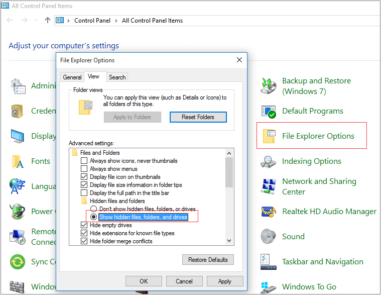 show hidden files and folders in windows 10, 8 and 7