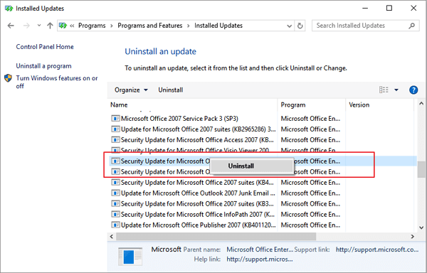 Uninstall faulty update that removes files on Windows 10 PC.