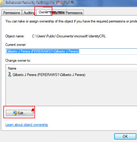 edit the ownership in windows 7