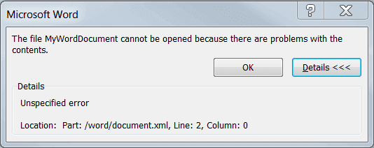 The file cannot be opened because there are problems with the contents