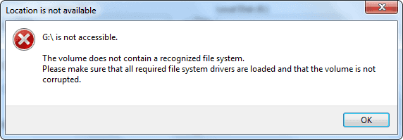 The volume does not contain a recognized file system