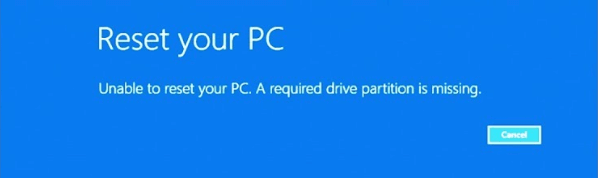 Error: Unable to reset your PC. A required drive partition is missing.