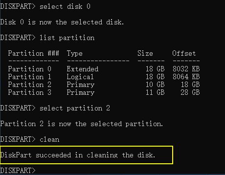 Diskpart disk clean command remove all data.