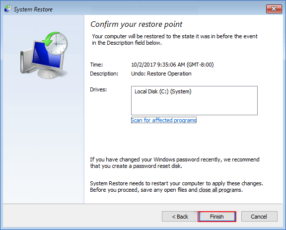 windows 10 system restore password incorrect