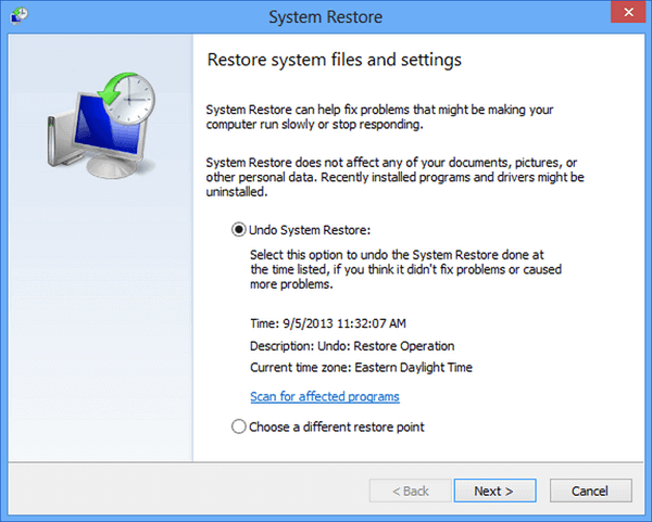 Undo System Restore with Windows 8 System Restore settings.