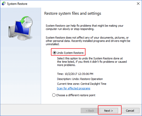 Use System Restore option on computer to undo System Restore.