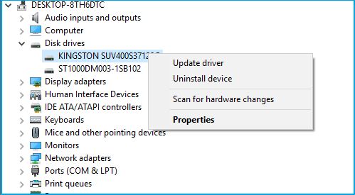uninstall drive and install new to show up disappeared hard drive