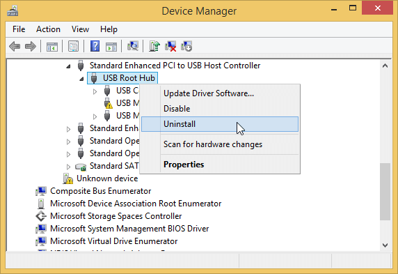 uninstall usb hub in device manager
