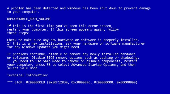 unmountable boot volume