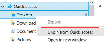 unpin folder from Quick Access to fix Quick Access is slow to open or load
