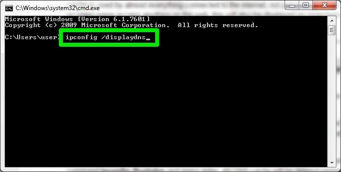 コマンドプロンプトでipcongif /displaydnsを入力する