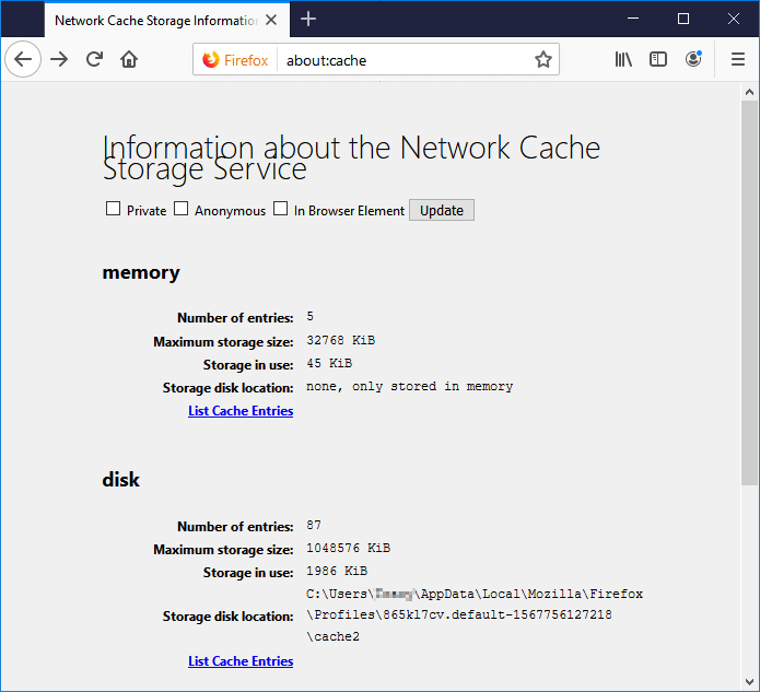 Open Firefox and find the cache files.