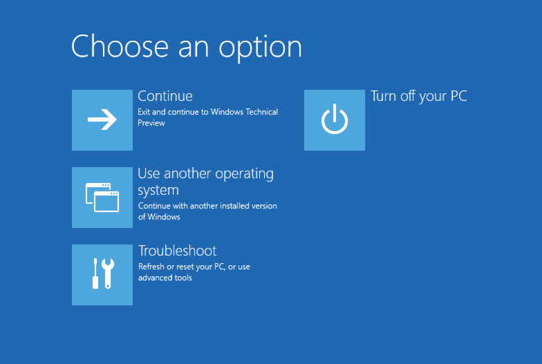open windows boot options page