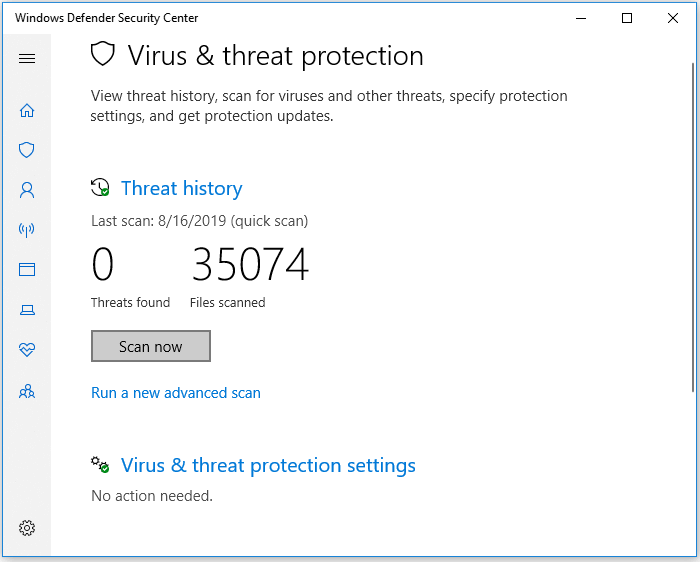 Run Windows Defender to remove virus