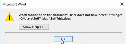 Word document not opening