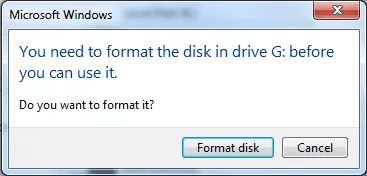 You need to format the disk before you can use it error