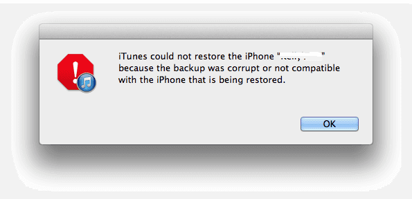 iPhone backup corrupt or not compatible error