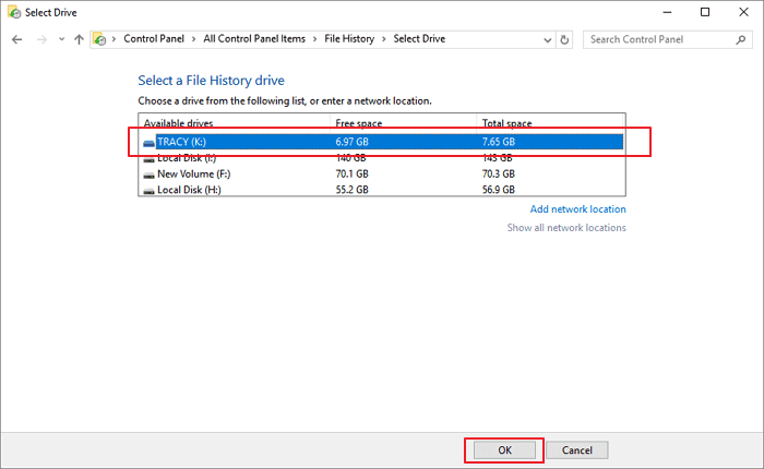 Backup photos and videos to external hard drive with File History in Windows 10.