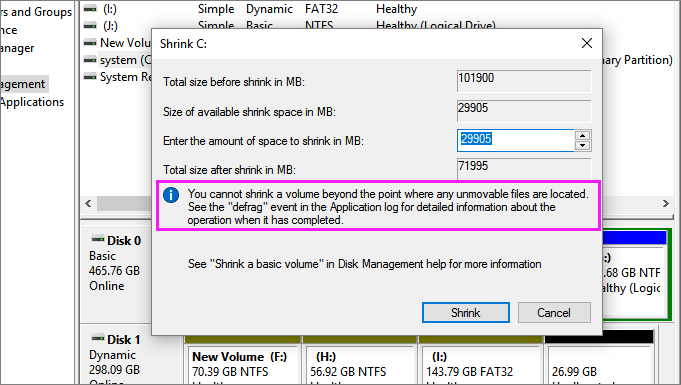 Windows unable to shrink volume in Windows 10/8/7.
