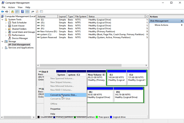 Convert basic to dynamic with disk management tool.