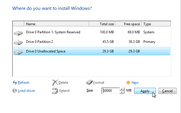 fresh install windows 10 partition