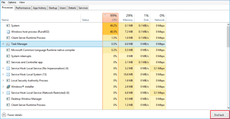Fixed: Windows 10 Fall Creators 99% or 100% High CPU Usage