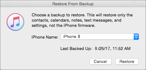 Restore iOS 11 data from iTunes backup to iPhone 8.