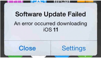 IOS 11 Software Update Failed Error