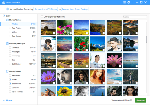 select photos and click the recover button