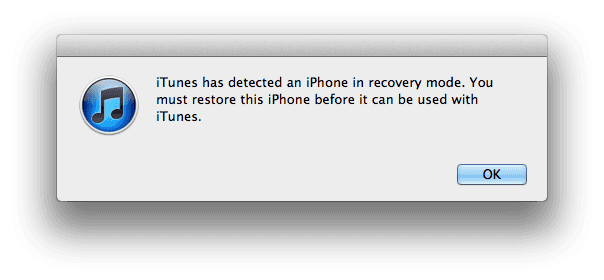 iTunes has detected an iPhone in recovery mode. You must restore this iPhone before it can be used with iTunes.