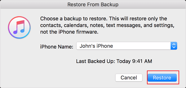 Confirm to restore lost iPhone contacts from iTunes backup.