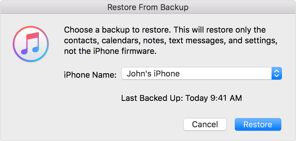 Restore deleted iPhone photos from backup.