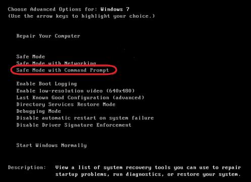 Démarrez PC en mode sans échec avec invite de commande.