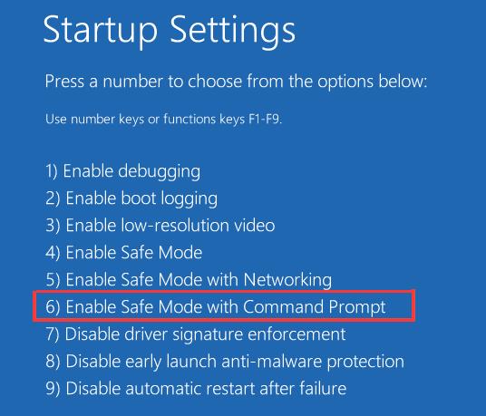 Abilitare Safe Mode con caratteristiche di Command Prompt.