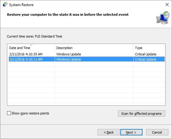 Effectuer la restauration du système pour trouver des fichiers et des données perdues en raison d'une infection UIWIX.