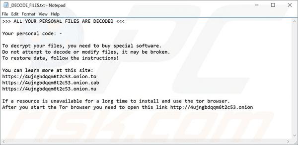 UIWIX ransomware virus.