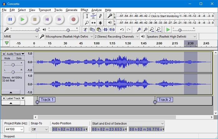 internal audio recorder - Audacity