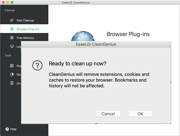 Confirm to cleanup browser plugins.
