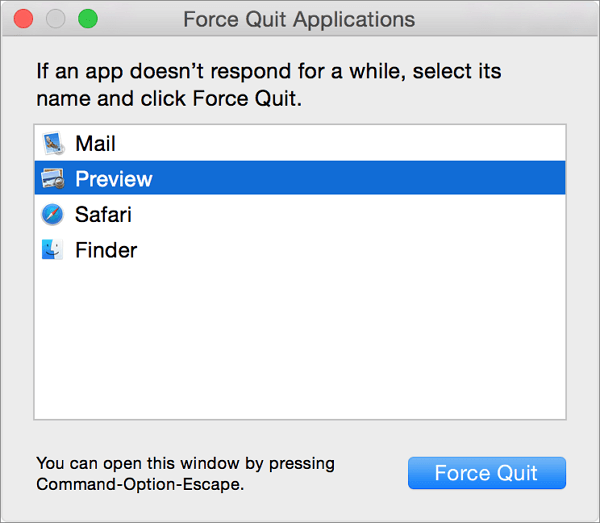force quite the app if the application is not open anymore
