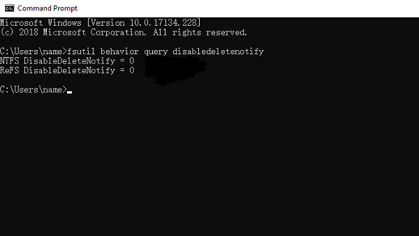 Command Prompt to View TRIM Status