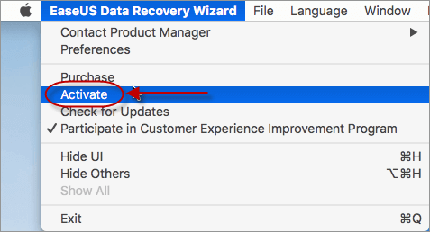 Activate EaseUS Data Recovery Wizard for Mac