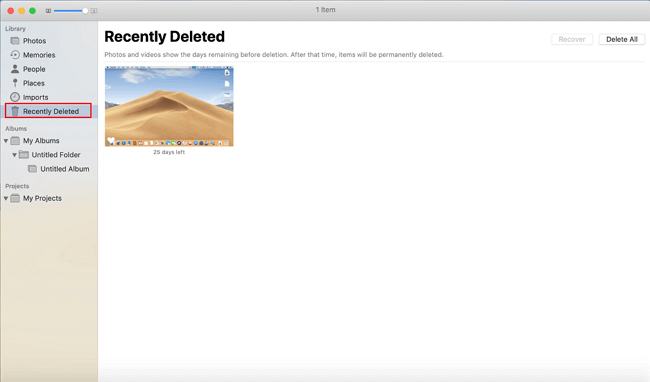 how to find recently deleted folder on macOS