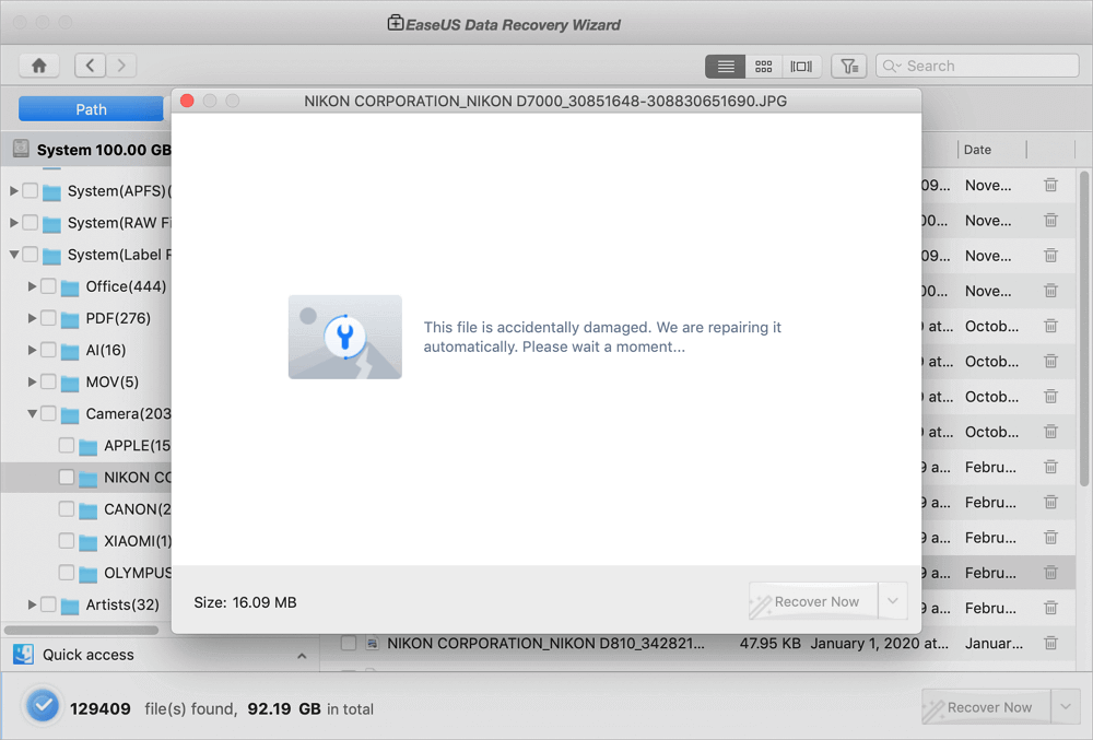 click recover now to recover lost photos on your Mac