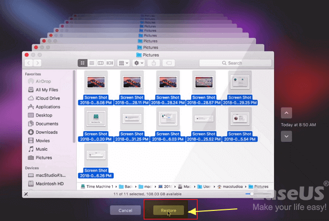 Restore replaced files from Time Machine backup on Mac